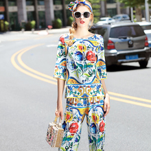 2016 New Summer Fall Runway Pants Suit Set Women's Fashion Plus Size Retro Print Blouse+Pants Set 2 Piece Clothing Sets Outfits