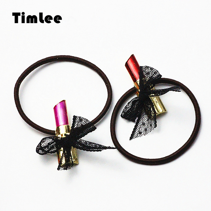 Timlee H085 Free Shipping Cute Lipstick Hairband Bow Hair rope Personality Hair Accessary Gift