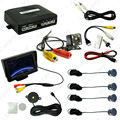 "Car 4.3"" LCD Monitor 4-sensor Parking Sensor 4-LED Night Vision CCD Camera Reversing Rearview Parking System #CA982"