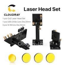 Zestaw Głowicy Laserowej CO2 CO2 Cloudray + Odblaskowe Si Lustro 25mm + USA Ostrości Obiektywu 20mm dla Maszyna Do Cięcia Laserowego Grawerowania maszyna