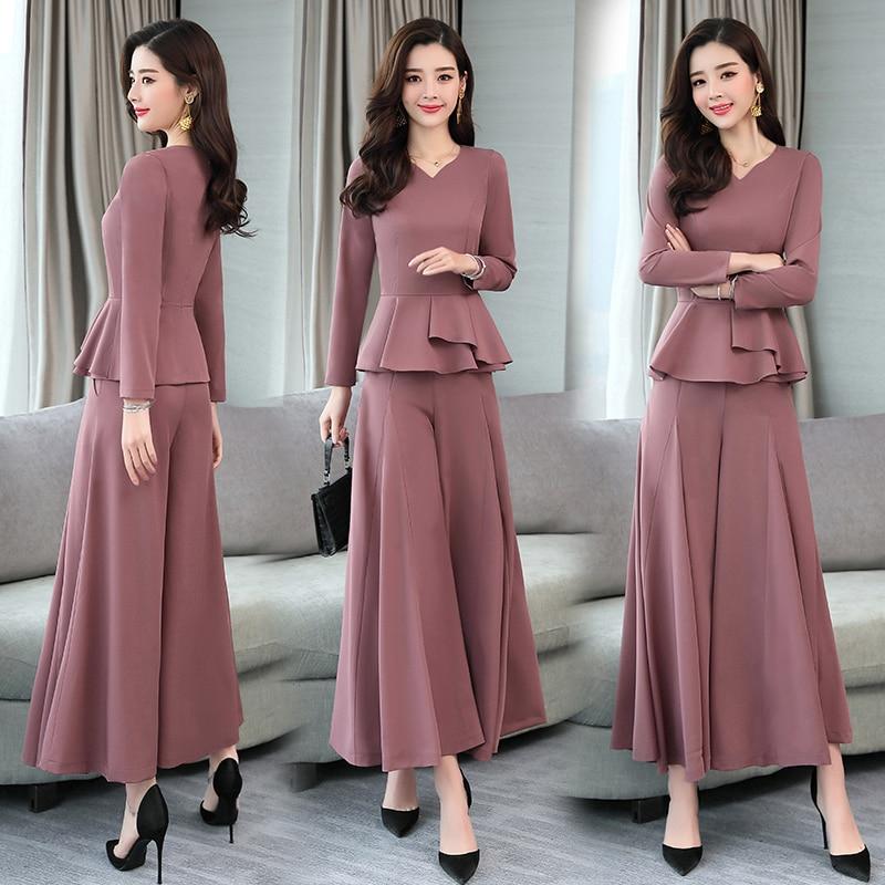 Women wide leg pants suits 2019 Spring Autumn two piece sets lady long sleeve shirt tops