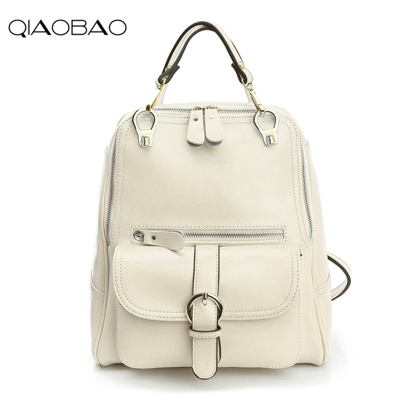 QIAOBAO 2018 new leather backpack cowhide shoulder bag fashion Korean version of the wave backpack simple fashion bag 2016 new korean version of the retro shoulder bag fashion backpack male schoolbags traveling bags