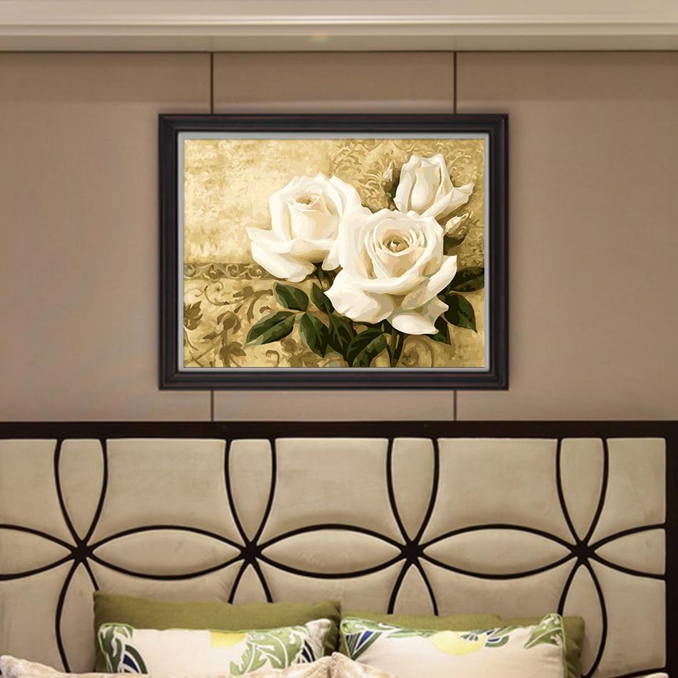 Enmarcado Pintura Al Óleo de DIY flores blancas para colorear Por ...