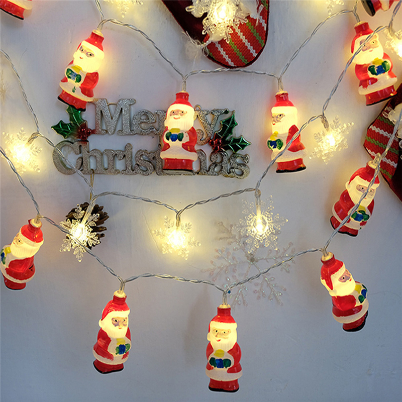 New Arrival 10 PCS LED Christmas Santa Battery Box Santa Claus Lamp String Home Garden Decor Lamp Yellow Lights Drop Shipping