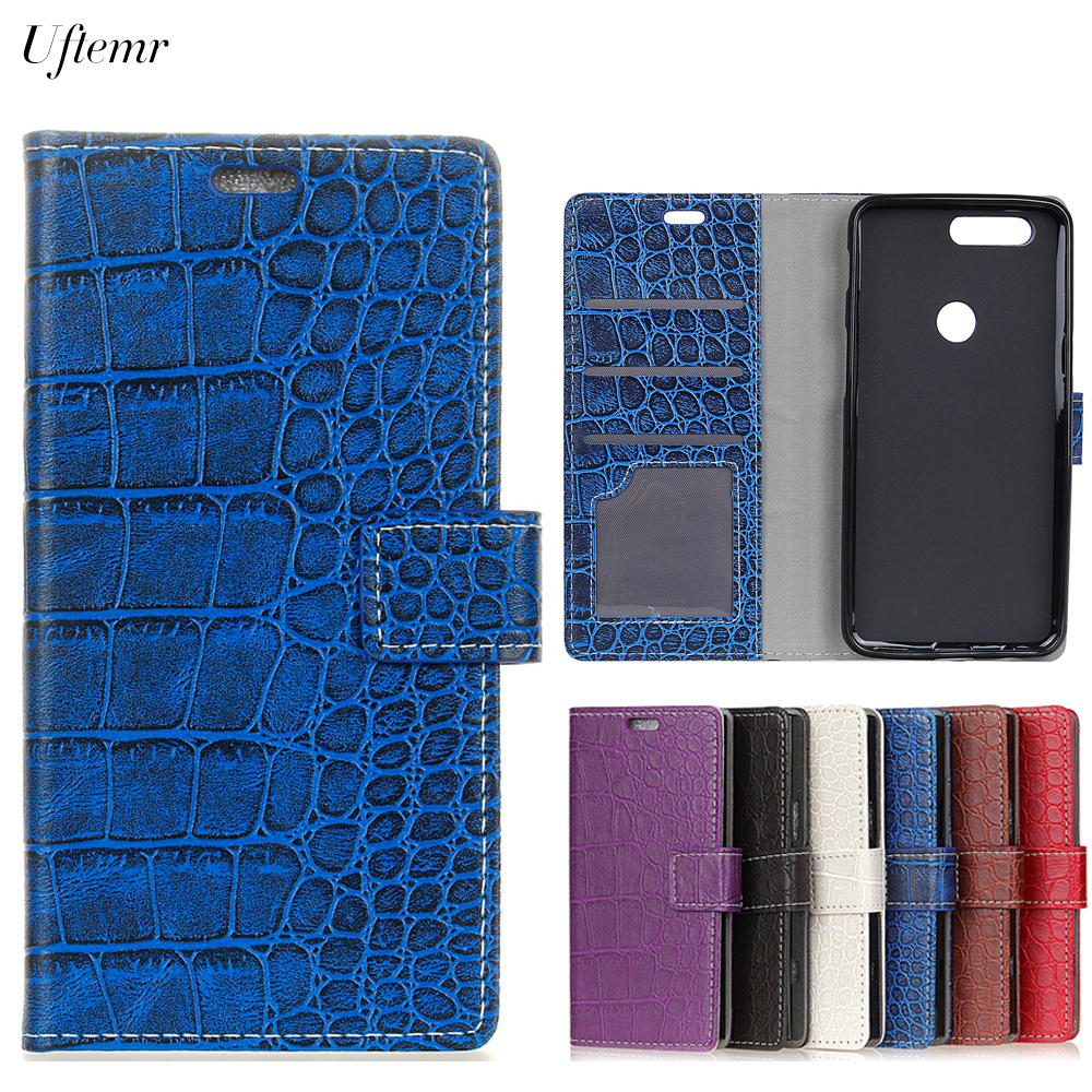 Uftemr Vintage Crocodile PU Leather Cover For Huawei Honor 9 Lite Protective Silicone Case Wallet Card Slot Phone Acessories