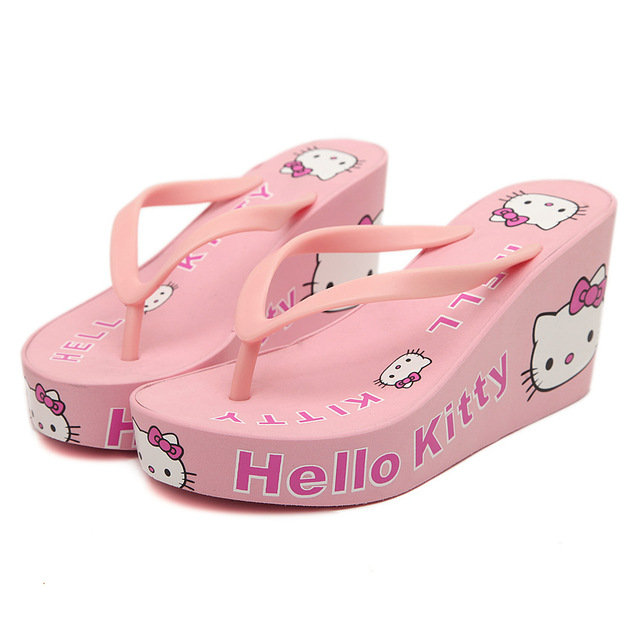 2dd401ed8 New Summer Wedge Flip Flops for Women's Sandals hello kitty Embellished  Cute Design Beach Slippers Women Shoes Free Shipping