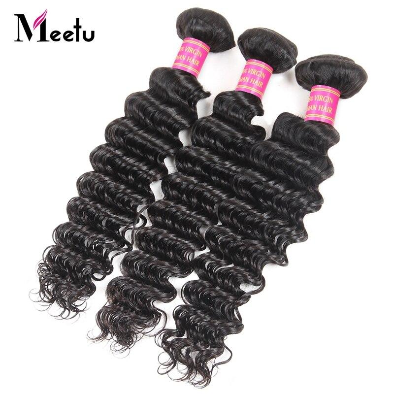 Meetu New 3 Bundles Malaysian Deep Wave Hair Bundles 8-28inch Natural Hair Extensions Malaysian Hair Weave Promotion