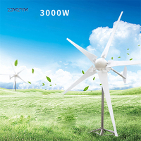 3000W Wind Power Generator; Wind Turbine with 5 Blades+Wind Controller P 3000, Impeller diameter 3300mm for Land and Marine Use