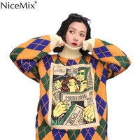 NiceMix Autumn Casual Knitted Cartoon Argyle Sweater Women Loose Long Turtleneck Pullovers Korean Jumpers Pull Femme Hiver 2019