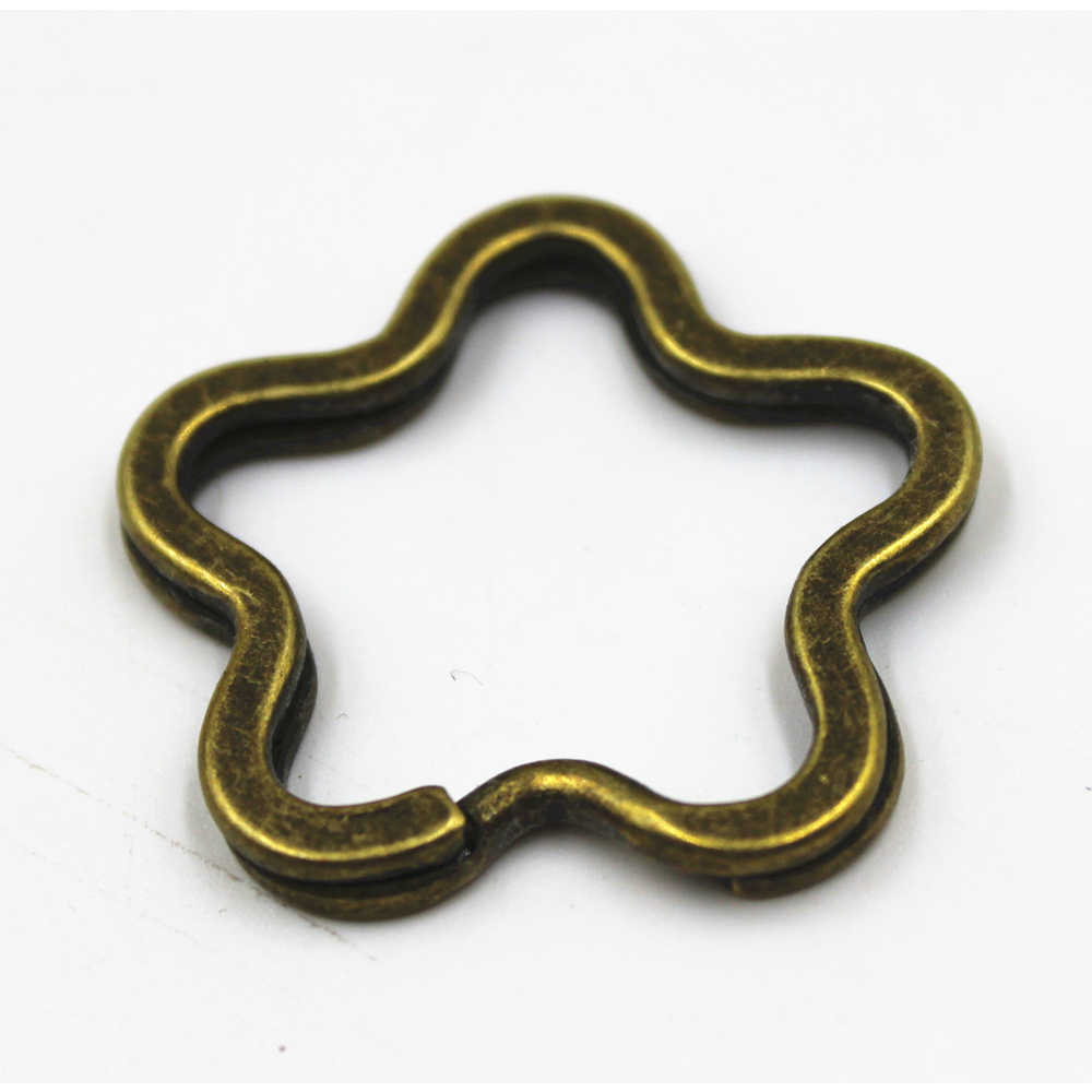 Llavero GHRQX con forma de estrella de corazón y flor, llavero de plata con anillo dividido, llavero, venta al por mayor, accesorios de joyería Diy, 3 uds