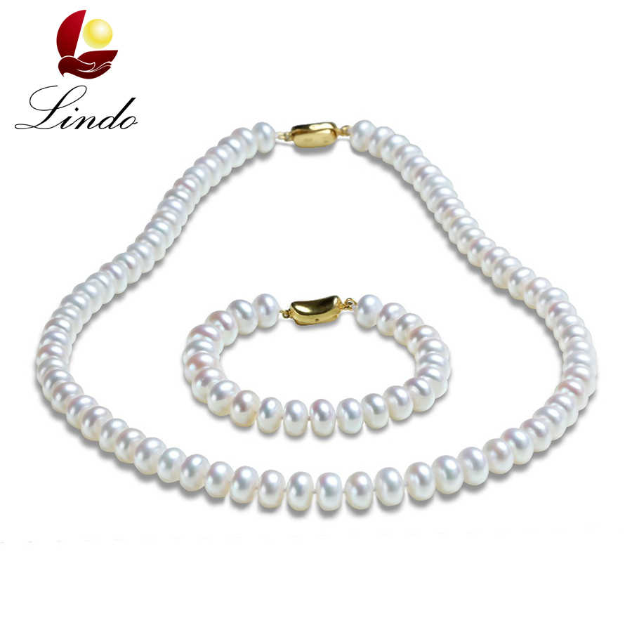 LINDO Pearl Set AAAA High Quality Necklace+Bracelet Unique Pearl Jewelry Women's Choker Bracelet femme Pearls for Decoration