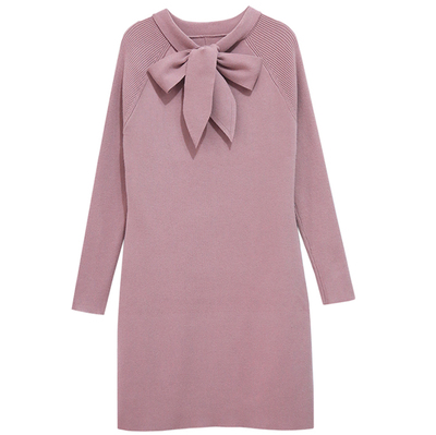 women winter warm sweater dress with bow 2017 new fashion high quality knitted basic slim skinny runway dress black pink color