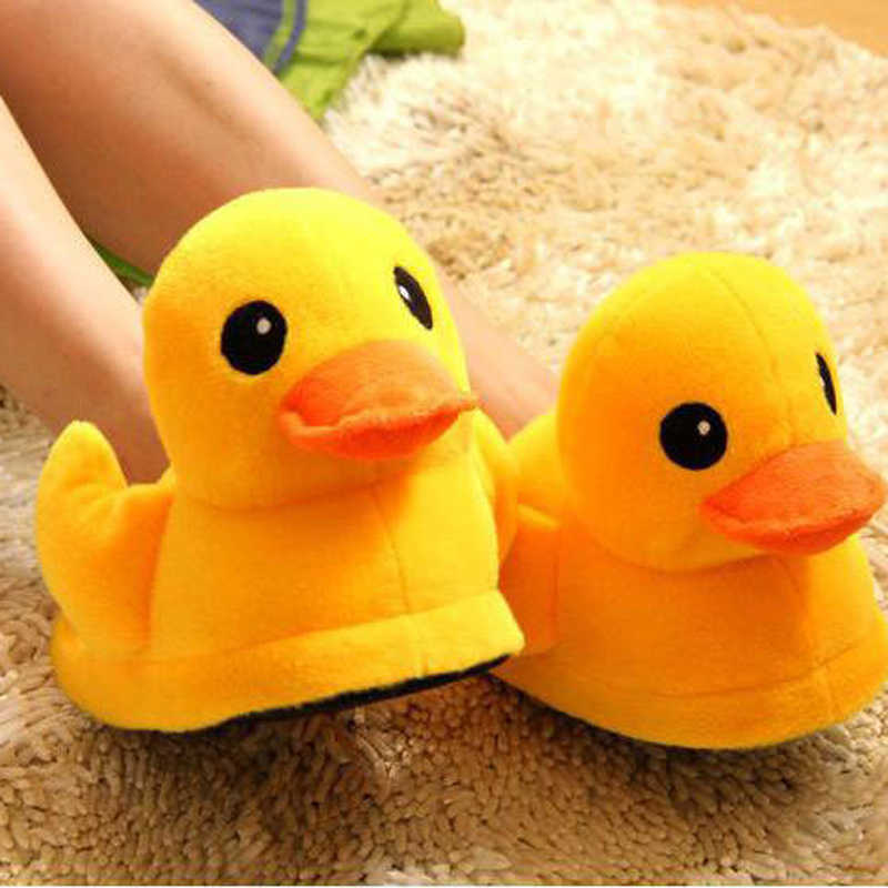 Lifelike Yellow Duck Plush Slipper Fashion Indoor Slippers Autumn Winter Warm Soft Plush Slippers Indoor Gift for Men Women