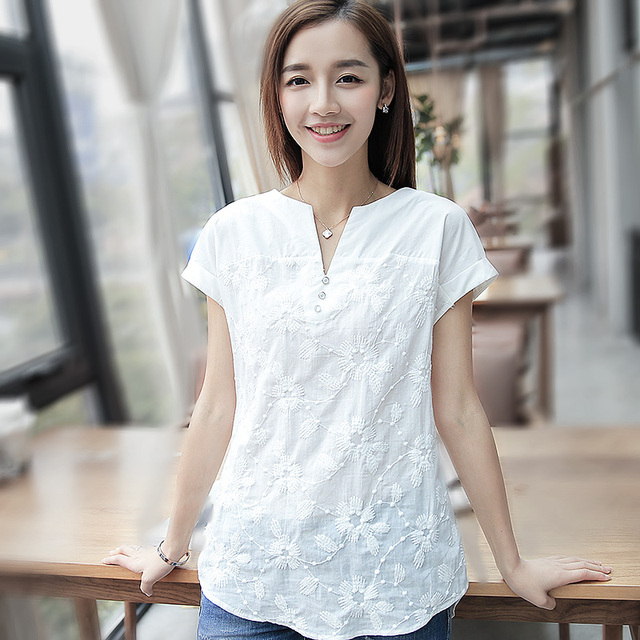 Women's Blouses 2016 Summer Casual Embroidery Medium-long Tops Women cotton Shirt White Shirts Slim basic Blouse Female
