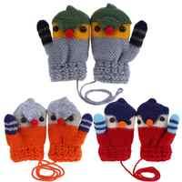 New Arrival Winter Baby Boys Girls Knitted Gloves Warm Rope Full Finger Cartoon kid Mittens Gloves for Children Toddler Kids