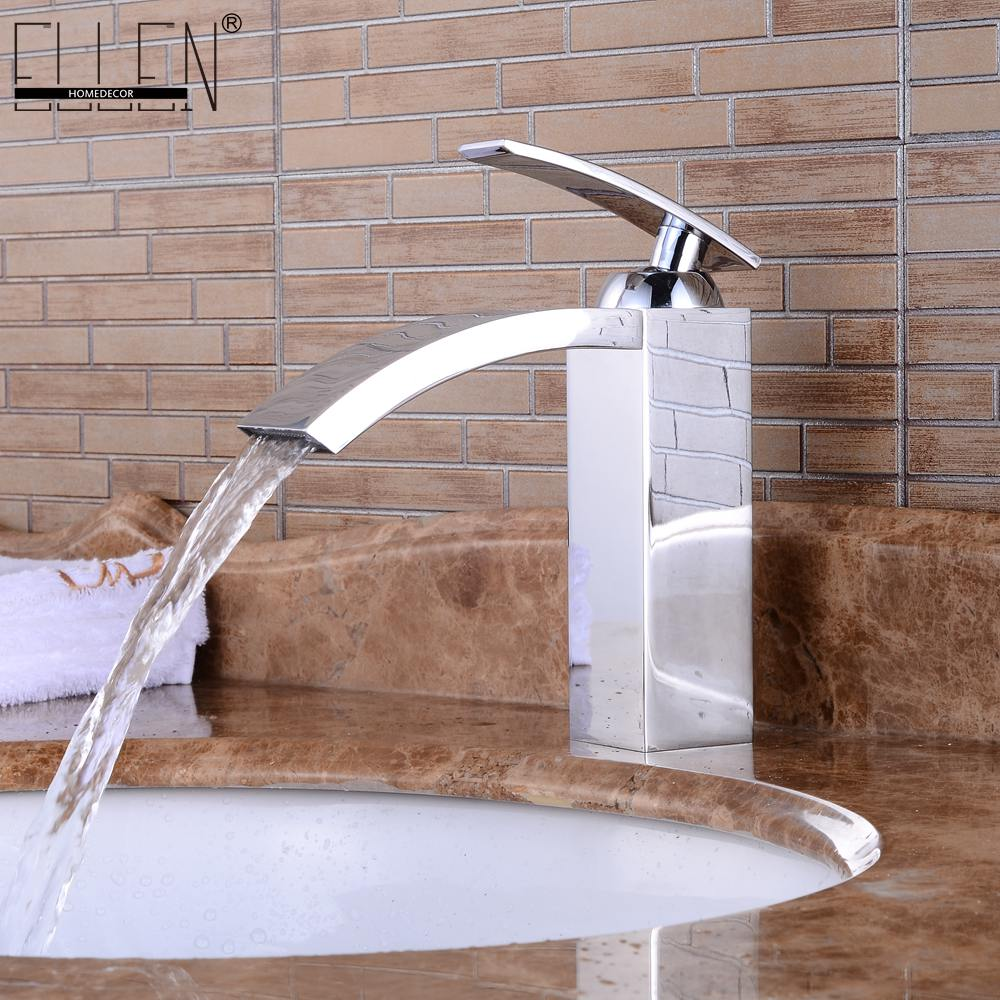 Deck Mounted Bathroom Basin Sink Faucet Hot and Cold Water Mixer Square Sink Tap Chrome Finished Copper hpb square style tall basin faucet water tap chrome finished bathroom sink mixer single handle hot and cold hp3132