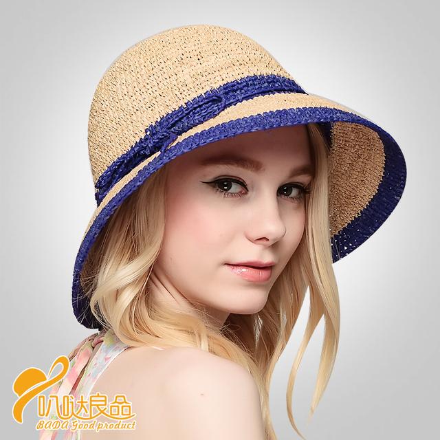2016 Nueva Señora Sombrero de Sun Del Verano Sombrero de Paja de Las Mujeres Plegado de Ala Ancha Dom Casquillo Elegante Viajar Sombrero Nuevo Headwear B-2293