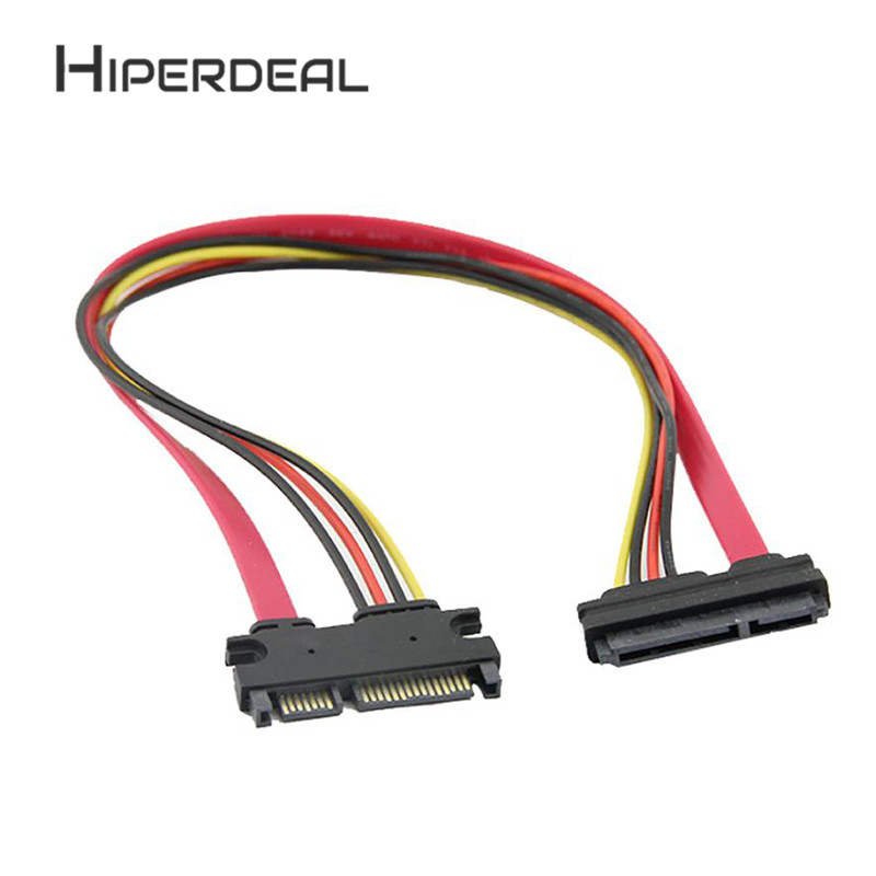 HIPERDEAL 50 cm 22P 7+15Pin M/F Serial ATA SATA Data Power Combo Extension Cab Paperwhite Accessory For Raspberry Smartphon 1Sp8