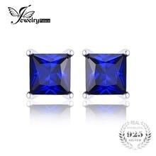 Jewelrypalace 0.8ct cuadrado azul creado zafiro real 925 plata esterlina stud pendientes para las mujeres pendientes de joyería de moda