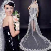 Vintage ivoire une couche 3 M dentelle bord cathédrale mariage voile pas cher veu de noiva longo voile mariage longue dentelle voiles de mariée