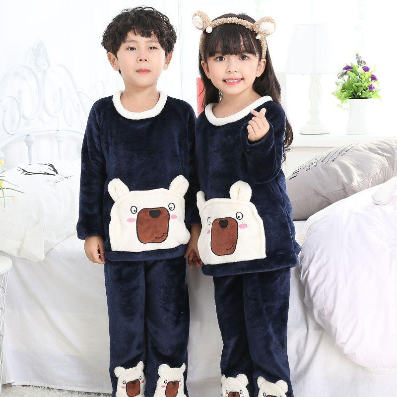 178f2472ce Hot Sell Spring Loungewear Coral Fleece Homewear Winter Pyjama Set Children  Extreme Soft Pjs Girls Flannel Sleepwear Boys rer54