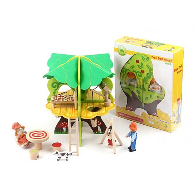 baby wooden 3D tree doll house puzzle children's birthday gifts wood  house Kids Christmas gifts Child learning educational toys