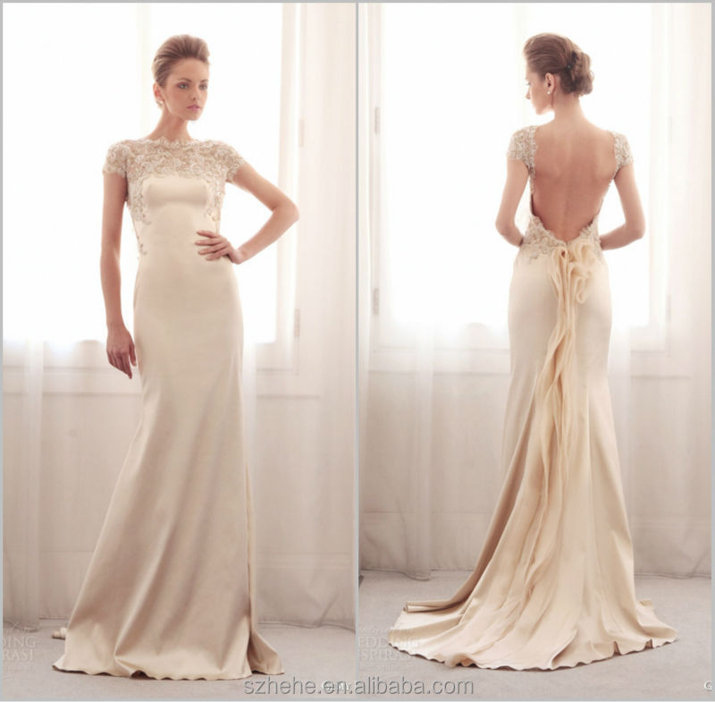 Superior Bridals CW2218 Elegant Cream Color Lace Short Sleeve Backless Casual Wedding  Dresses 2014 In Wedding Dresses From Weddings U0026 Events On Aliexpress.com ...