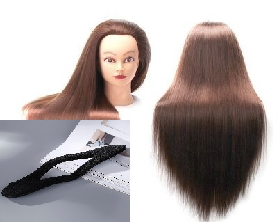 CAMMITEVER Mannequin Head with Hair for Cosmetology Training with Free Clamp Holder & Training Tool 20 Dark Brown