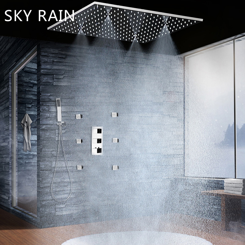 SKY RAIN Luxury 20 Inch Ceiling Mounted Shower Head Thermostatic Mixer Rainfall Spray Mist Shower Set With Body Jets