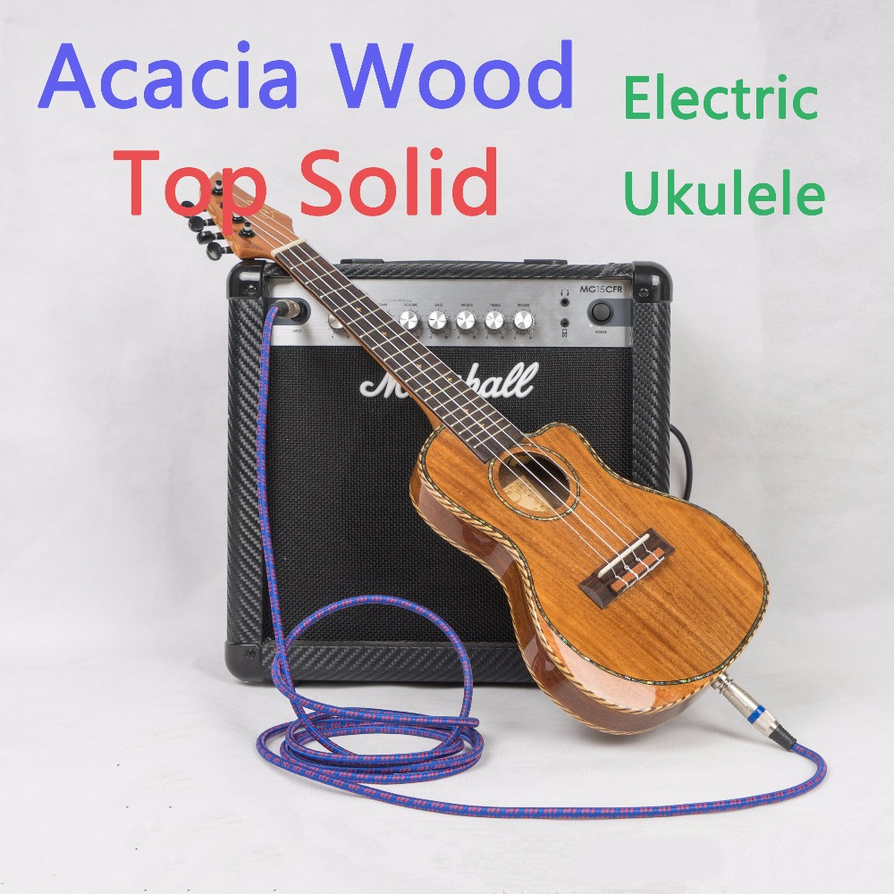 Ukulele Concert 23 Inch Cutaway Top Solid Acoustic Electric Thin Body Mini Guitar 4 Strings Ukelele Picea Asperata Rosewood