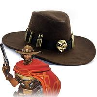 McCree Hats Cosplay Game OW Accessory Fancy Cowboy Hat Hiking Caps McCree Cosplay Costume Halloween party for Adult Men