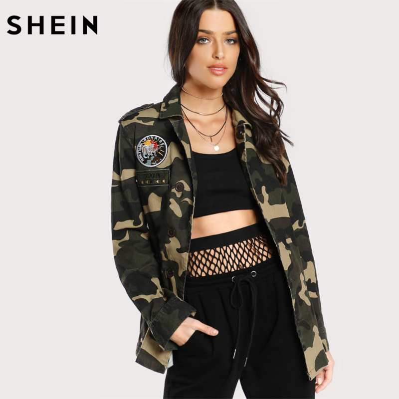 SHEIN Patch Detail Camo <font><b>Utility</b></font> Jacket Womens Autumn Army <font><b>Green</b></font> Lapel Single Breasted Casual Womens Jackets and Coats