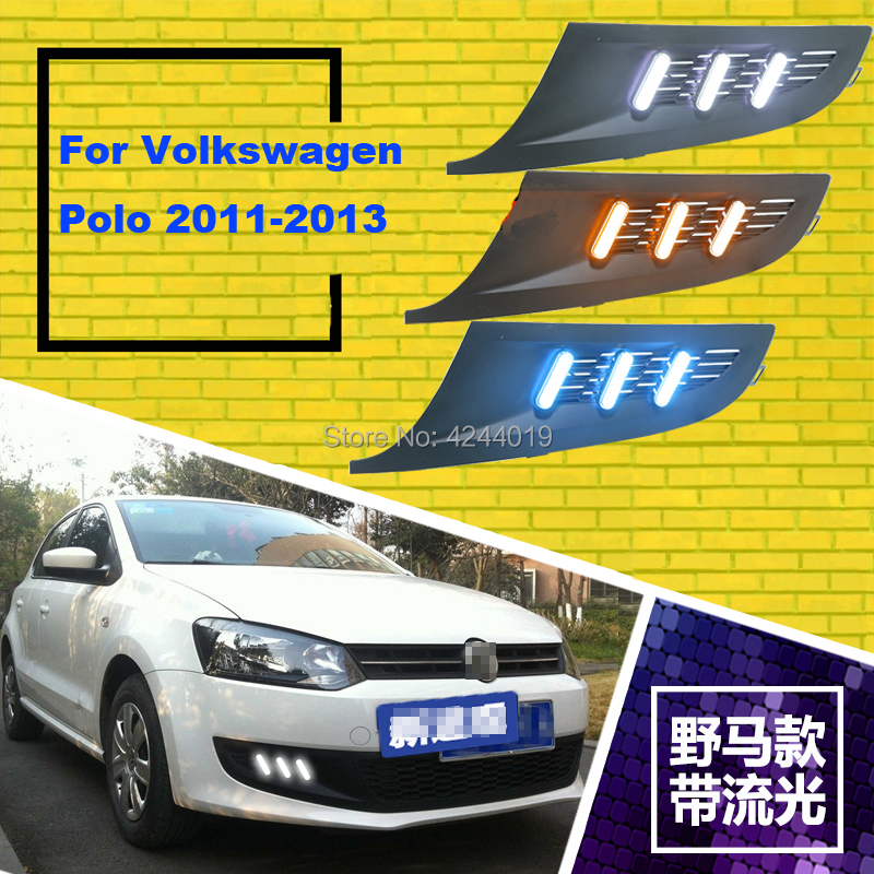 Fits 2011-2013 Volkswagen Polo Day Light Fog Lights Fog Lamps LED Driving Light DRL Daytime Running Lights Yellow Turn Signal 1 pair front halogen fog lights lamps turn signal light front bumper fog light for hyundai sonata 2011 2012 2013