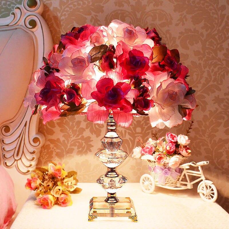 Творческий Ткань Flowe настольная лампа K9 кристалл спальня ночники лампа свадебный подарок ткань романтическая роза настольные свет za1027119