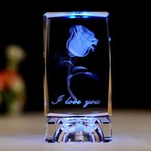 Crystal 3D Laser Engraved Rose Cube Ornaments LED Light Changing Colors