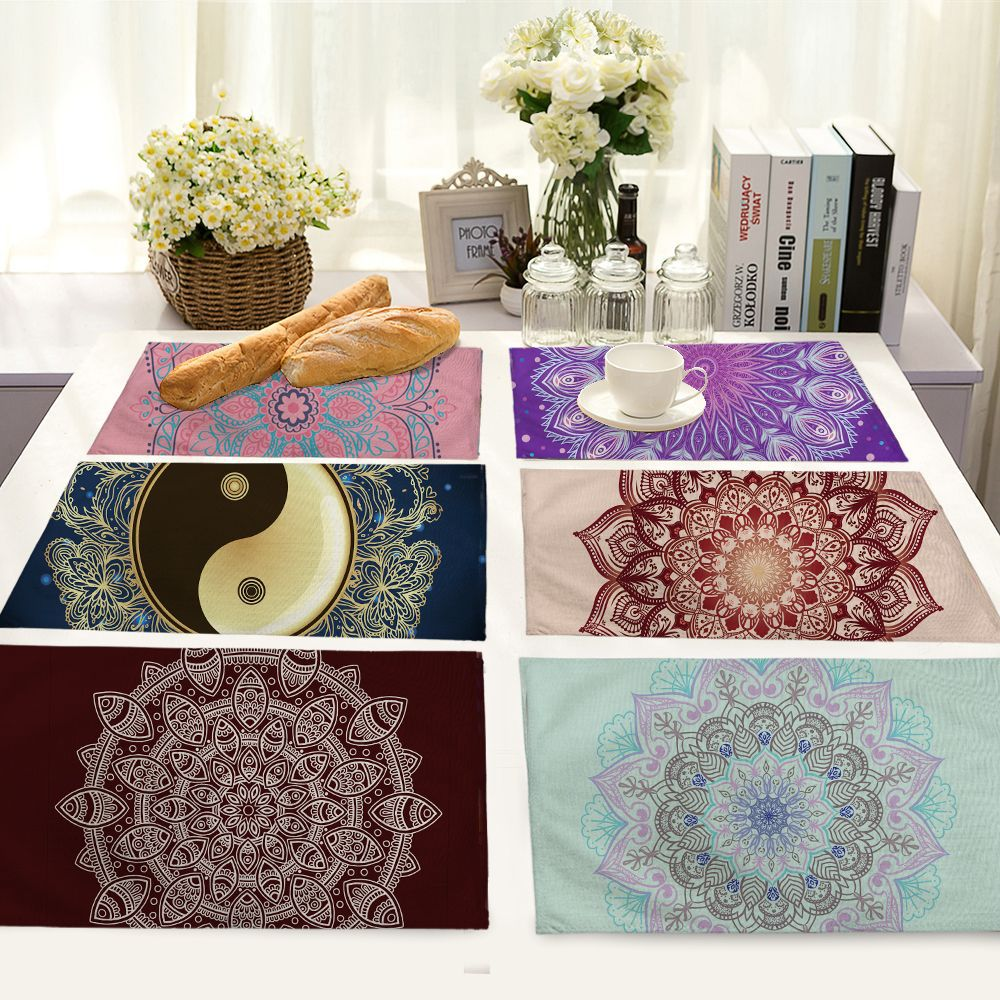 42*32cm Colored gradient mandala print Cotton Table Napkins Polyester Dinner Cloth Hotel Table Napkins