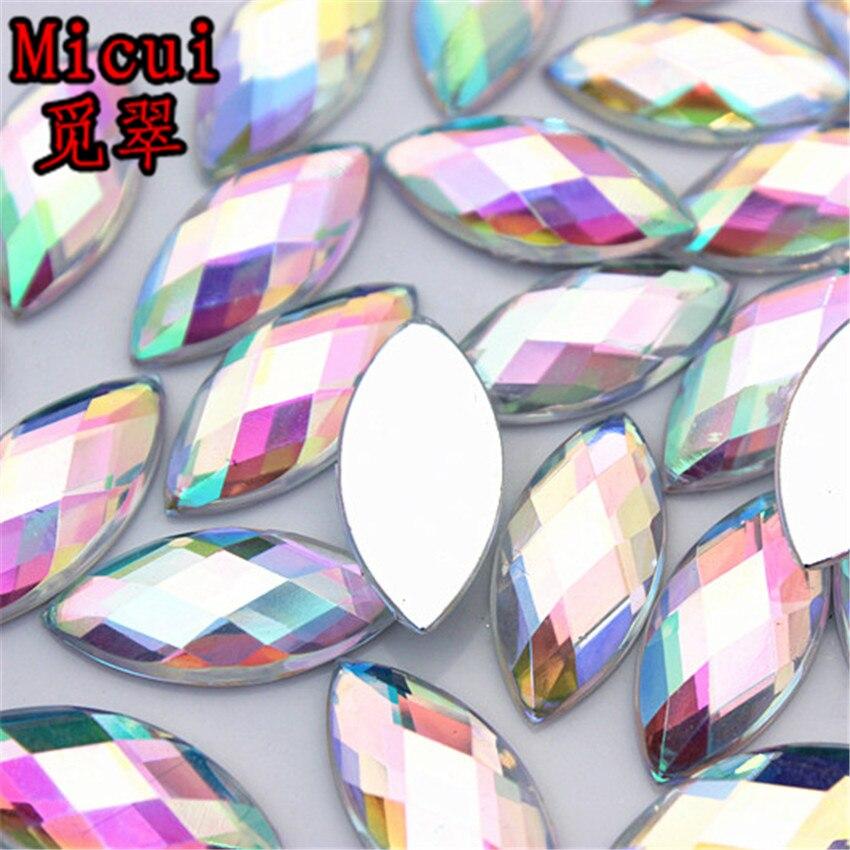 Micui 100 шт. 9*20 мм акрил горный хрусталь Лошадь глаз Crystal AB Ясно Flatback Камень для одежды обуви сумок свадебные ZZ457B