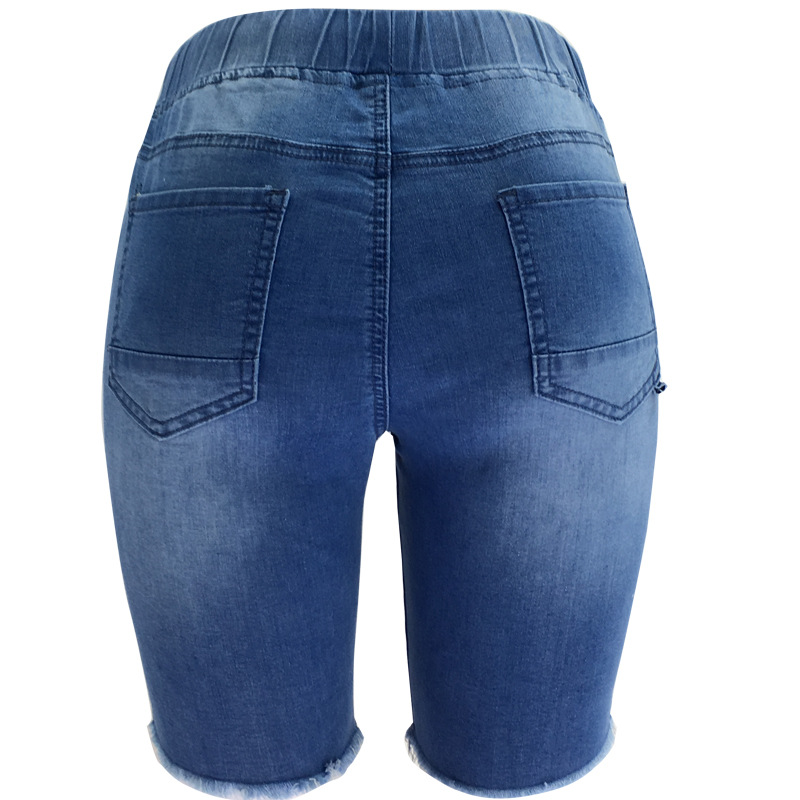 Summer Elastic Band Elastic Mid-Rise Ladies Jeans Hole Ladies Pants Casual Pants Straight Slim Women's Five-Point Jeans
