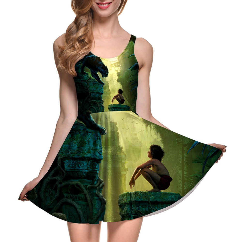 NEW 1264 Sexy Girl Women Summer Cartoon The Jungle Book Shere Khan3D Prints Reversible Sleeveless Skater Pleated Dress Plus size