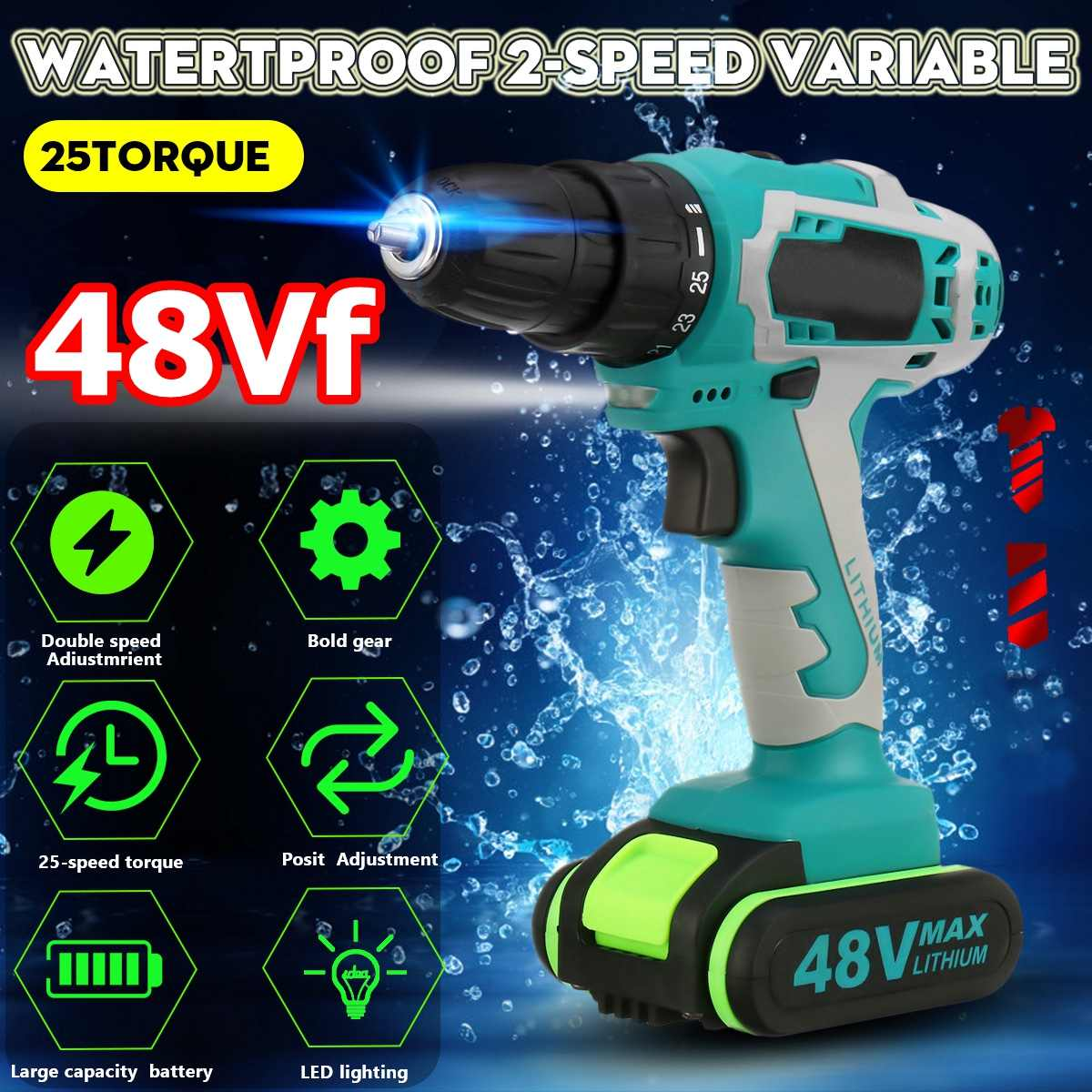 48V 5000mAh 2528Nm 25-speed Torque Double Speed Brushless Cordless Electric Drill Screwdriver Hammer LED Lighting