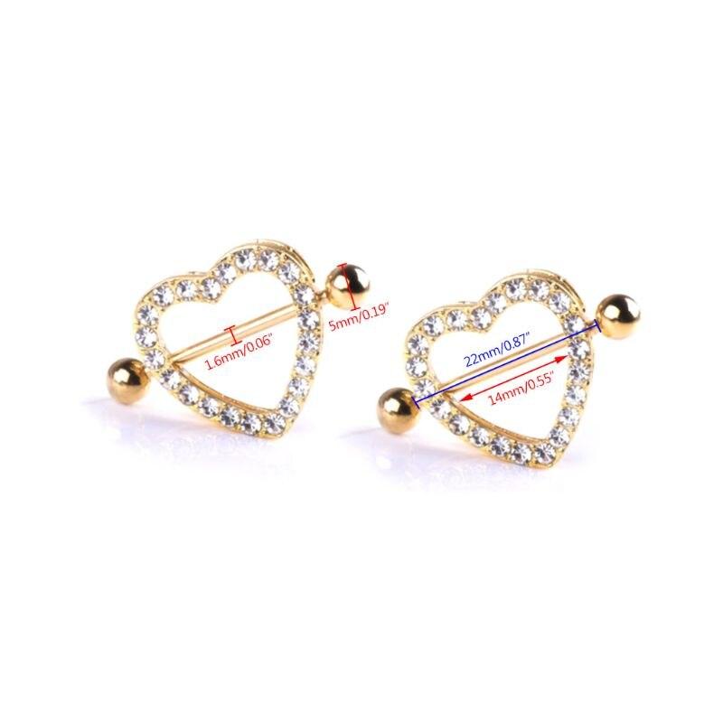 1pc Nipple Piercing Double Layer Sexy Women Breast Lady Heart Shaped Rhinestone Shiny Luxury Fashion Jewelry Gold Decoration in Body Jewelry from Jewelry Accessories