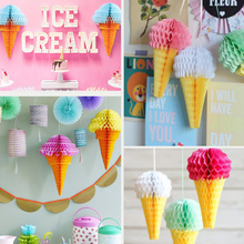 Wedding Simple Ice Cream Studio Party Decoration Reusable Paper Hanging Background Honeycomb Ball Birthday Stores Handmade Stage