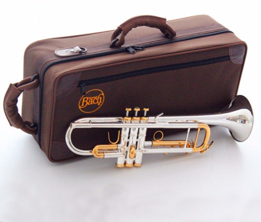 Bach Trumpet High quality New American trumpet  silver plated LT180S-72 Trumpet  Musical instruments professional Free shipping professional new silver plated trumpet bb keys with monel valves horn case