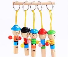 Gratis levering! Baby Wooden Whistling Educational Leker Child Whistle Wooden Leker 10Pcs for one lot Gift for barn