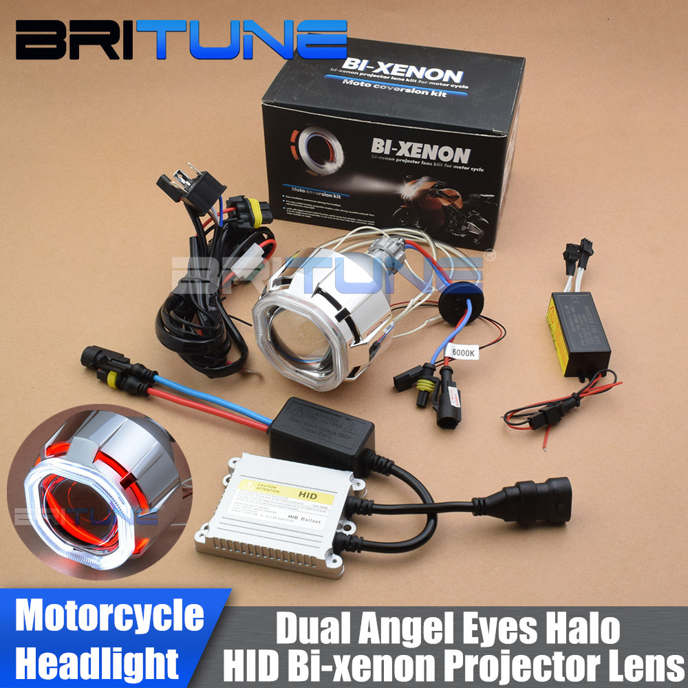 Motorcycle <font><b>Headlight</b></font> <font><b>Lens</b></font> Bi-xenon Projector Light <font><b>Square</b></font> Double CCFL Halos Angel Eyes DIY HID Kit 2.5'' H7 H4 Cars Accessories image