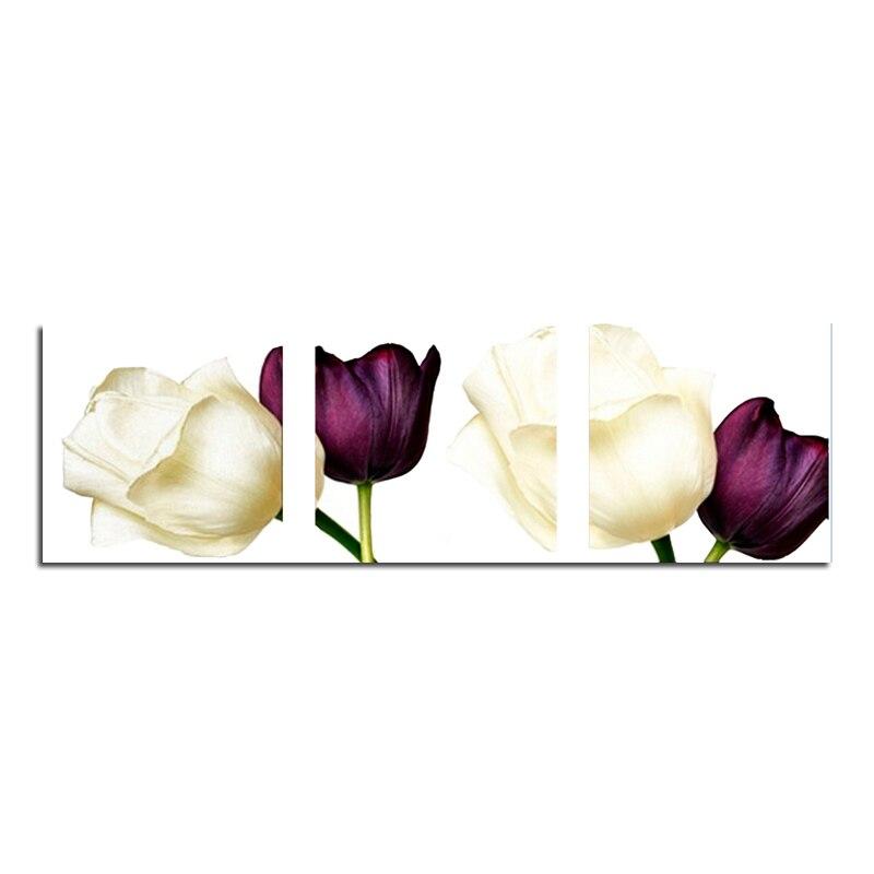 Tulipe rouge et blanc triple 30X30 bricolage carré perceuse strass collé peinture point de croix artisanat couture diamant dessin