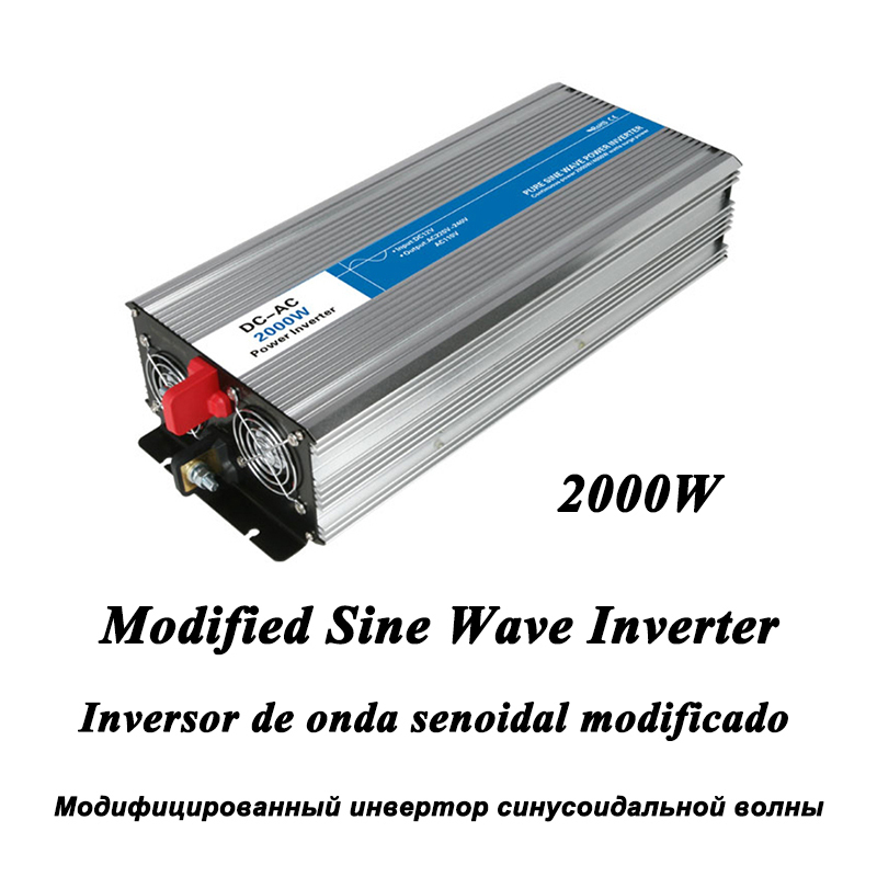 DC-AC 2000W Modified Sine Wave Inverter,LED Digital Display,with USB,DC to AC Frequency Converter Voltage Electric Power Supply dc ac 1000w pure sine wave inverter 12v to 220v converters voltage off grid electric power supply led digital display usb china