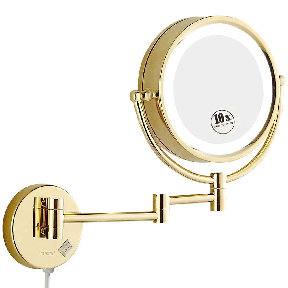 GURUN Shaving Makeup Mirror dengan Lampu LED dan 10x / 1X Pembesaran Wall Mounted Bathroom Vanity Lighted Gold Mirror 8.5 ""
