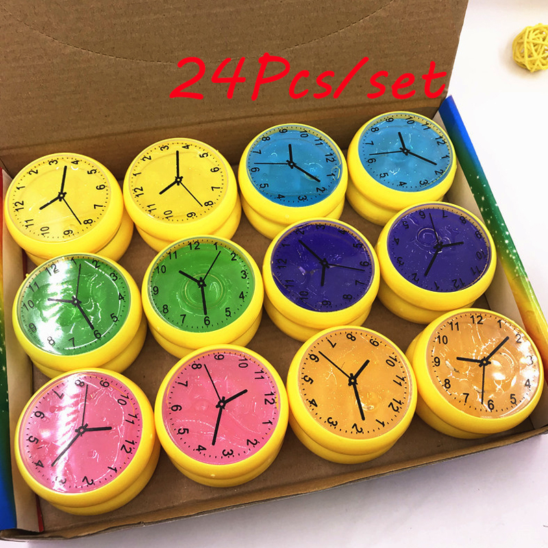 24pcs/Set 6 colors DIY Clocks Crystal Slime Playdough Colored Plasticine Mud Jelly Putty Clay Education Toys For Kids Gift toy