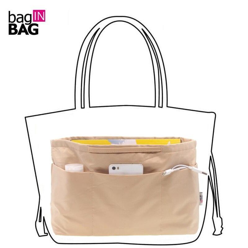 Tasche in Tasche Frauen Organizer Bag Kosmetik taschen Reise Veranstalter Taschen Handtasche; Große Medium Kleine Größe; Braun, schwarz, Kaffee